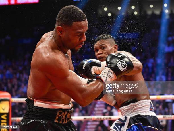 Jean Pascal is stunned after receiving a punch by Eleider Alvarez during the WBC light heavyweight silver championship match at the Bell Centre on...