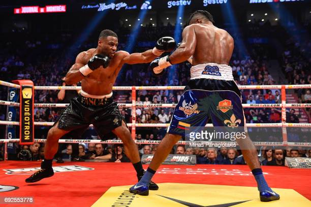 Jean Pascal misses his punch against Eleider Alvarez during the WBC light heavyweight silver championship match at the Bell Centre on June 3 2017 in...