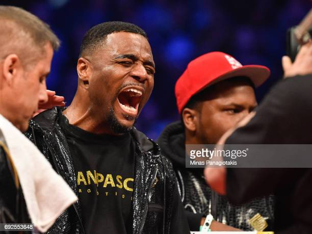Jean Pascal reacts against Eleider Alvarez prior to the WBC light heavyweight silver championship match at the Bell Centre on June 3 2017 in Montreal...