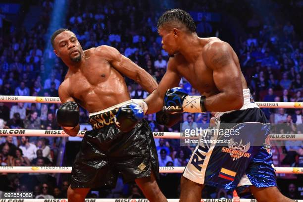 Jean Pascal sidesteps a punch against Eleider Alvarez during the WBC light heavyweight silver championship match at the Bell Centre on June 3 2017 in...