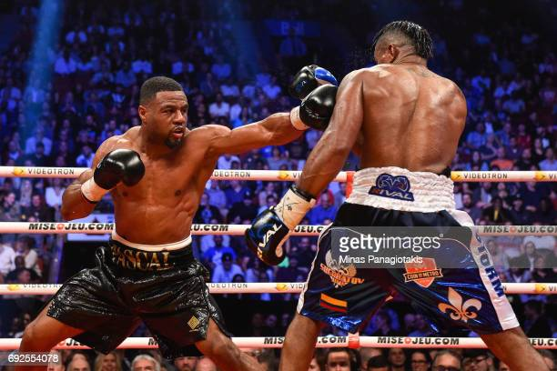 Jean Pascal throws a jab against Eleider Alvarez during the WBC light heavyweight silver championship match at the Bell Centre on June 3 2017 in...