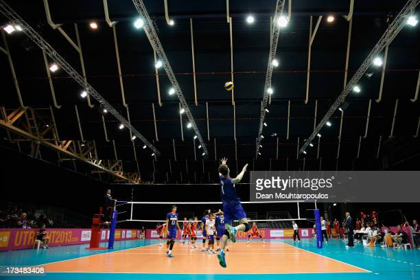 Jean Patry of France jumps to serve during the boys Volleyball match between France and Belgium on Day 1 of the European Youth Olympic Festival held...