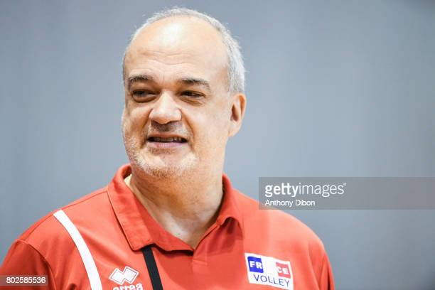 Jean Paul Andrea physiotherapist of France during a training session of the French volleyball national team on June 28 2017 in Vincennes France