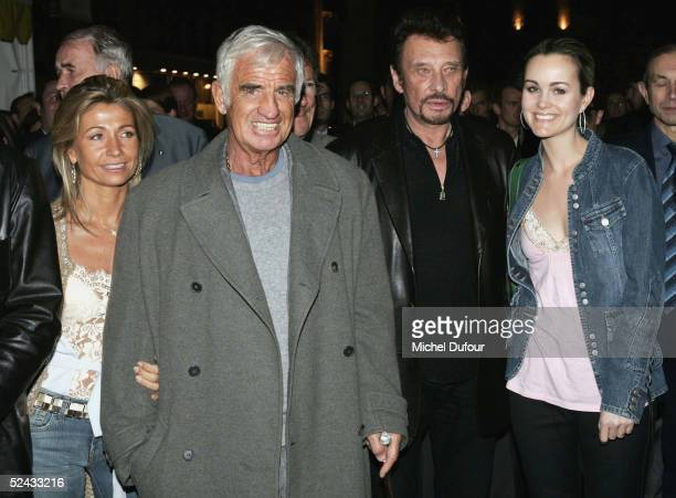 Jean Paul Belmondo and his wife Natty and singer Johnny Hallyday and his wife Laetitia attend the launch party at the night club 'L'Etoile' to launch...