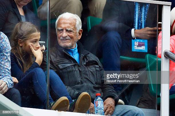 Jean Paul Belmondo's daughter Stella Belmondo and her uncle Alain Belmondo attend the French Tennis Open Day Fifteen with the Final between Novak...