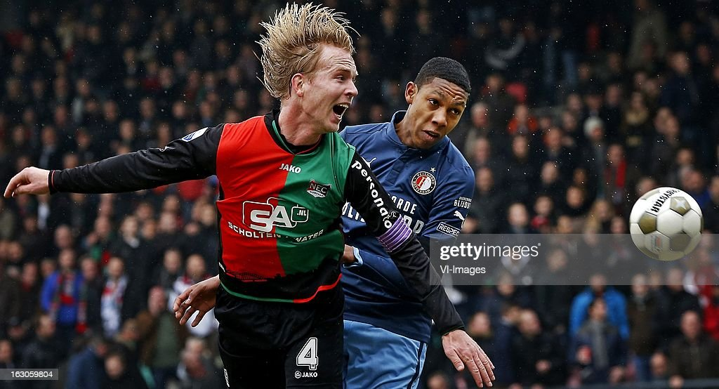 Jean Paul Boetius (R), Daan Bovenberg (L) during the Dutch Eredivisie match between NEC Nijmegen and Feyenoord at the Goffert Stadium on march 03, 2013 in Nijmegen, The Netherlands