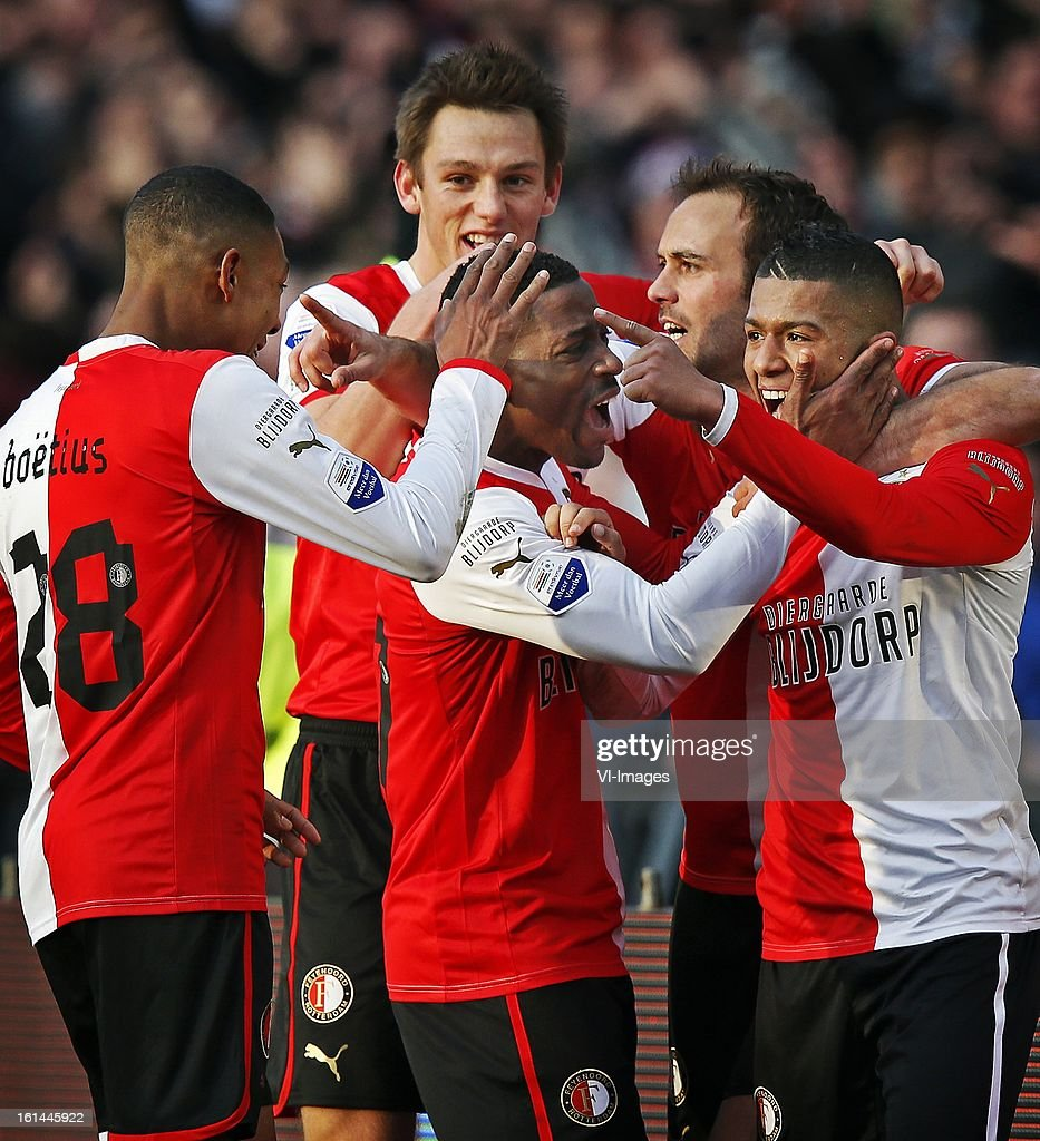 Jean Paul Boetius, Stefan de Vrij, Ruben Schaken, Joris Mathijsen, Tony Vilhena during the Dutch Eredivisie match between Feyenoord and AZ Alkmaar at stadium De Kuip on february 10, 2013 in Rotterdam, The Netherlands