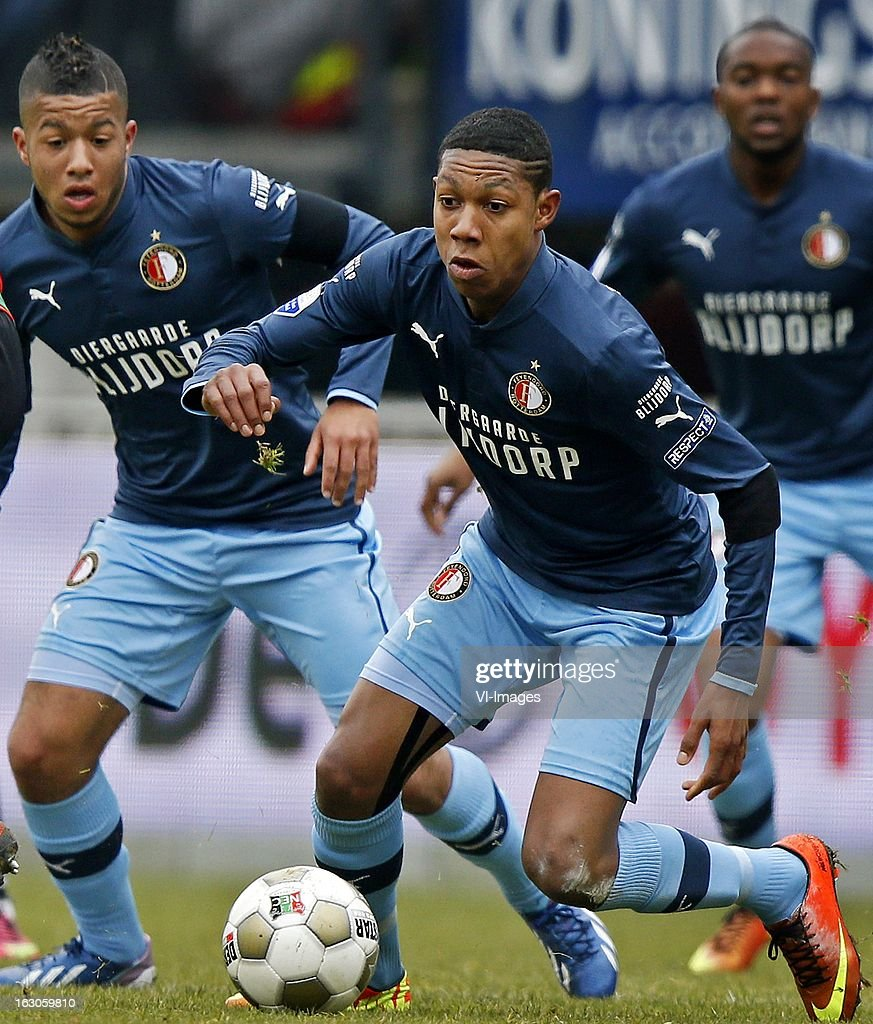Jean Paul Boetius (R), Tonny Vilhena (L) during the Dutch Eredivisie match between NEC Nijmegen and Feyenoord at the Goffert Stadium on march 03, 2013 in Nijmegen, The Netherlands