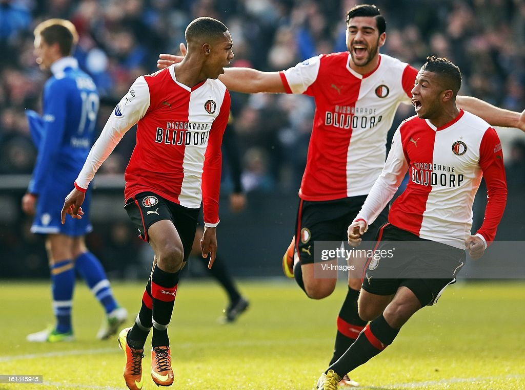 Jean Paul Boetius, Tony Vilhena, Graziano Pelle during the Dutch Eredivisie match between Feyenoord and AZ Alkmaar at stadium De Kuip on february 10, 2013 in Rotterdam, The Netherlands