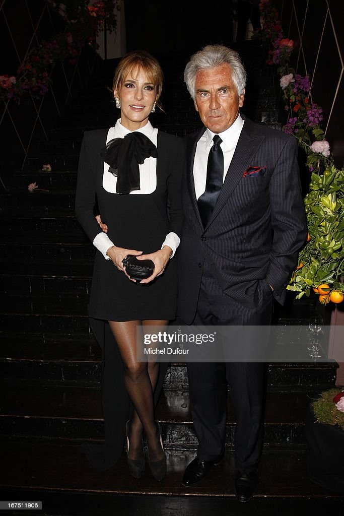 Jean Paul Enthoven and guest attend the 'Les P'tits Cracks' charity dinner at Pavillon Champs-Elysees on April 25, 2013 in Paris, France.
