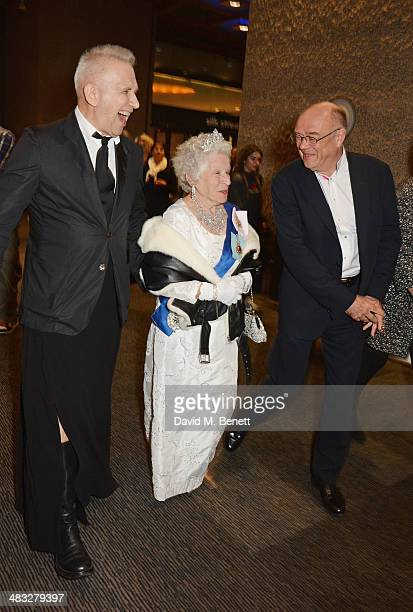 Jean Paul Gaultier a Queen Elizabeth II impersonator and Sir Nicholas Kenyon attend an exclusive reception for 'The Fashion World of Jean Paul...