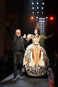 Jean Paul Gaultier and a model walk the runway during the Jean Paul Gaultier show as part of Paris Fashion Week Haute Couture Fall/Winter 2015/2016...