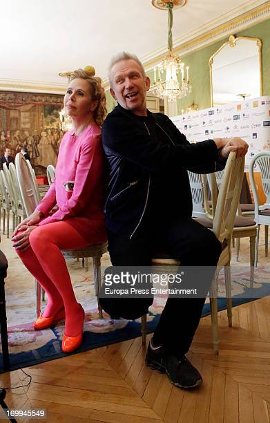 Jean Paul Gaultier and Agatha Ruiz de la Prada attend the 'Prix Dialogo' press conference at French Embassy on June 4 2013 in Madrid Spain