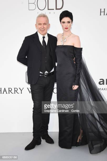 Jean Paul Gaultier and Coco Rocha arrives at the amfAR Gala Cannes 2017 at Hotel du CapEdenRoc on May 25 2017 in Cap d'Antibes France