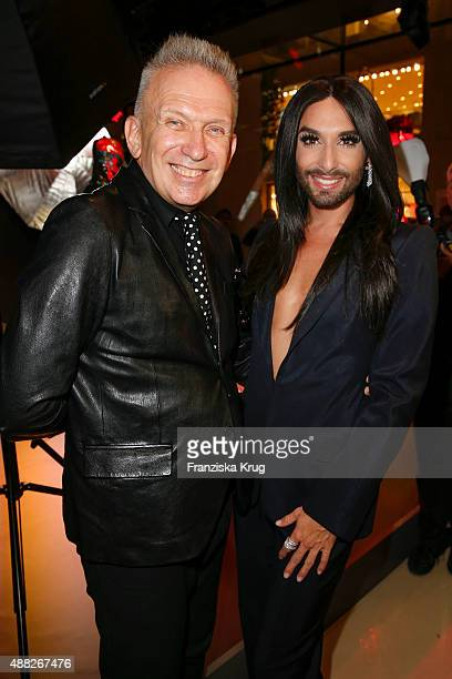 Jean Paul Gaultier and Conchita Wurst attend the presentation of installations by designer Jean Paul Gaultier at the Swarovski Kristallwelten store...
