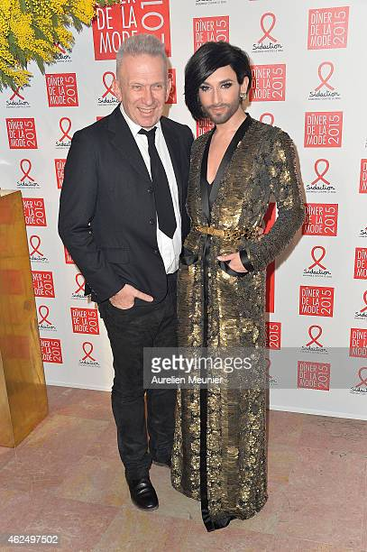 Jean Paul Gaultier and Conchita Wurst attend the Sidaction Gala Dinner 2015 at Pavillon d'Armenonville on January 29 2015 in Paris France