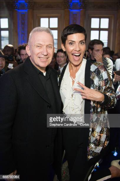 Jean Paul Gaultier and Cristina Cordula attend the 'France By Jean Paul Gaultier' Limited Coin Collection Press Preview at Monnaie de Paris on March...