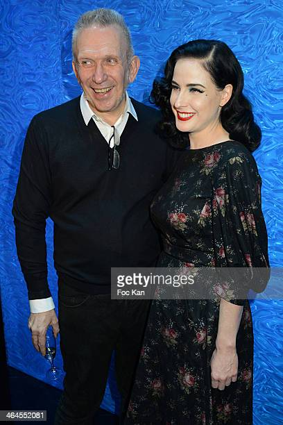 Jean Paul Gaultier and Dita Von Teese attend the Jean Paul Gaultier show as part of Paris Fashion Week Haute Couture Spring/Summer 2014 at the JP...
