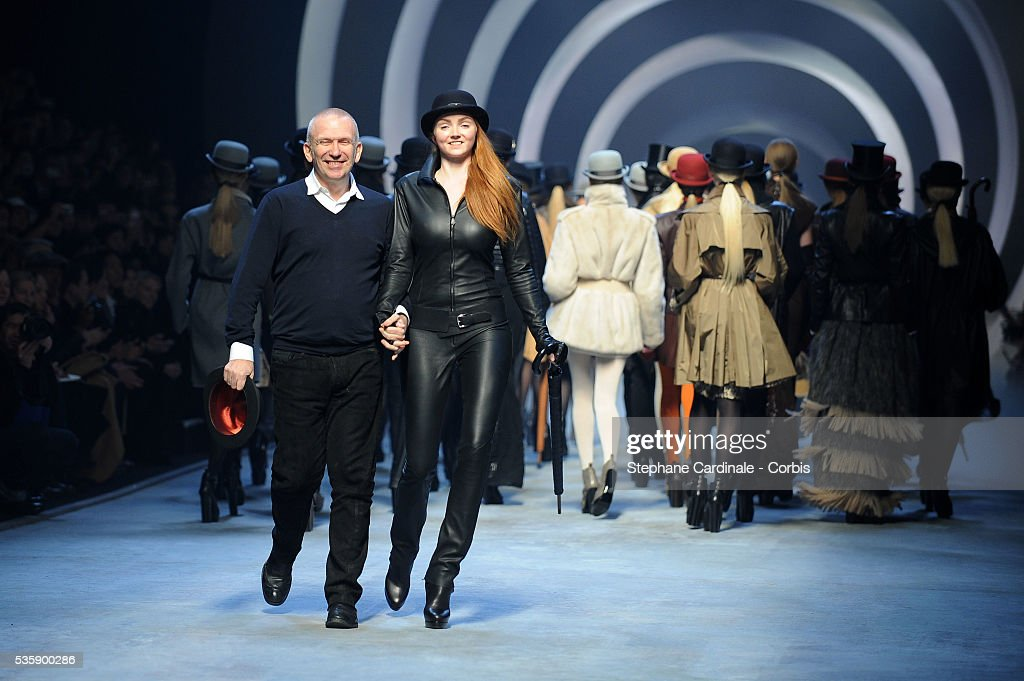 Jean Paul Gaultier and Lily Cole on the runway at the Hermes Ready To Wear show, as part of the Paris Fashion Week Fall/Winter 2010-2011.