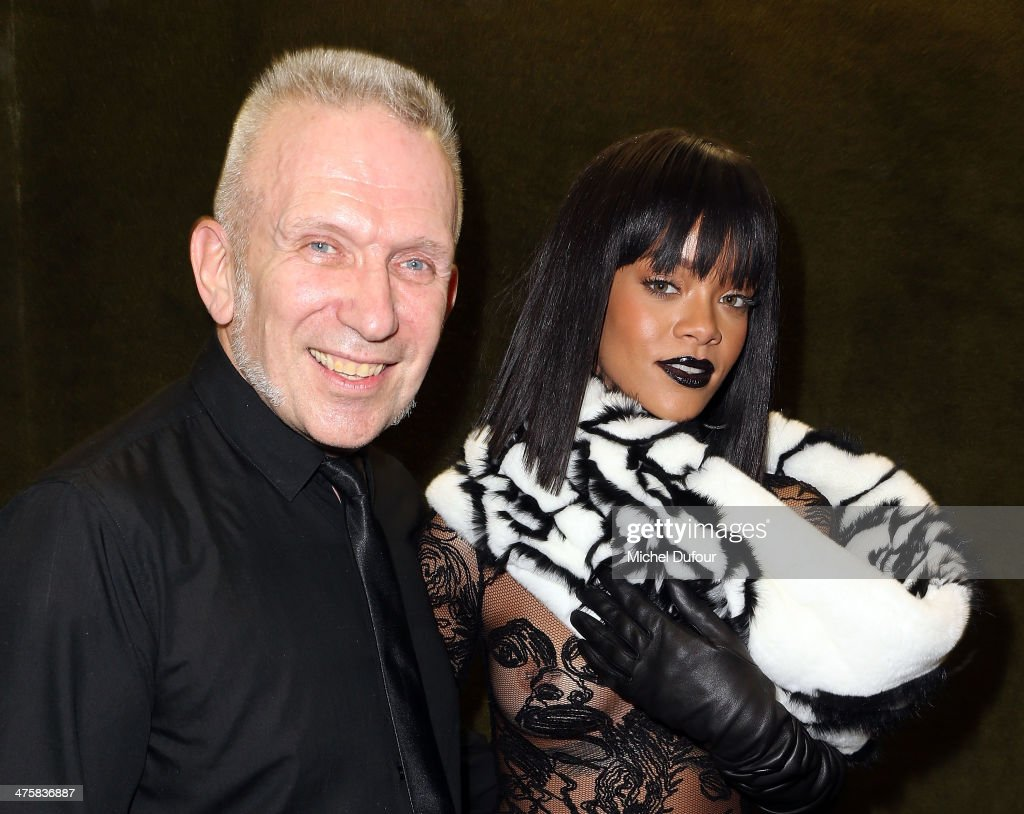 Jean Paul Gaultier and Rihanna pose after the Jean Paul Gaultier show as part of the Paris Fashion Week Womenswear Fall/Winter 2014-2015 on March 1, 2014 in Paris, France.