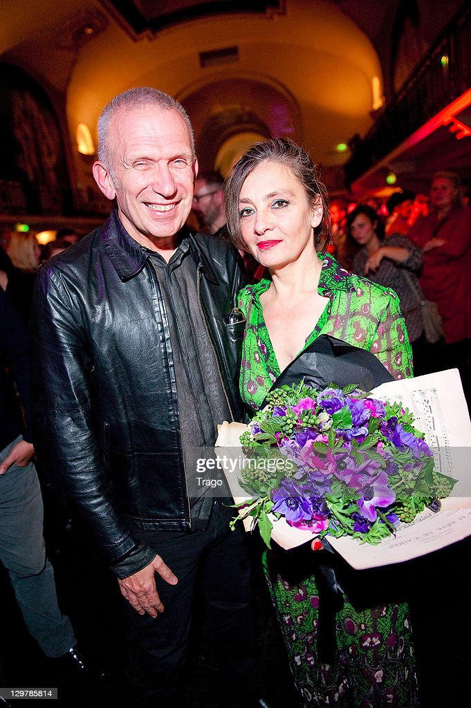 Jean Paul Gaultier and singer <a gi-track='captionPersonalityLinkClicked' href=/galleries/search?phrase=Catherine+Ringer&family=editorial&specificpeople=4399910 ng-click='$event.stopPropagation()'>Catherine Ringer</a> attend 'De La rue Aux Etoiles' Book Launch at Jean-Paul Gaultier's on October 20, 2011 in Paris, France.