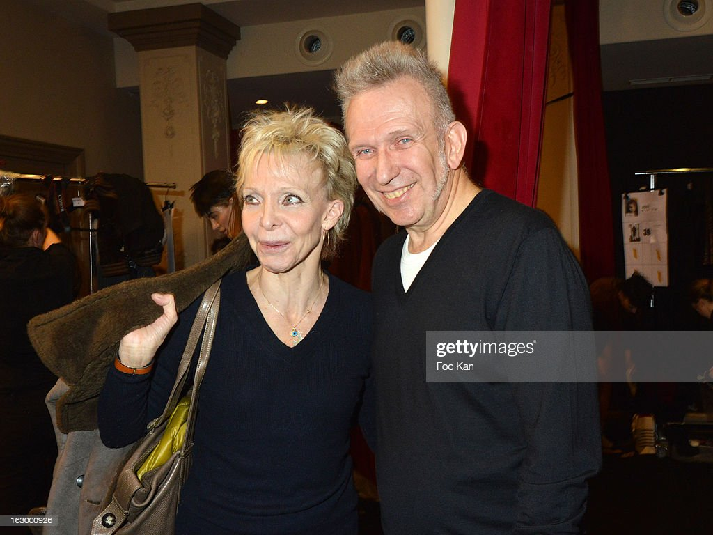 Jean Paul Gaultier (R) and <a gi-track='captionPersonalityLinkClicked' href=/galleries/search?phrase=Tonie+Marshall+-+French+Director&family=editorial&specificpeople=626737 ng-click='$event.stopPropagation()'>Tonie Marshall</a> attend the Jean Paul Gaultier Fall/Winter 2013 Ready-to-Wear show as part of Paris Fashion Week at Sall Wagram on March 2, 2013 in Paris, France.
