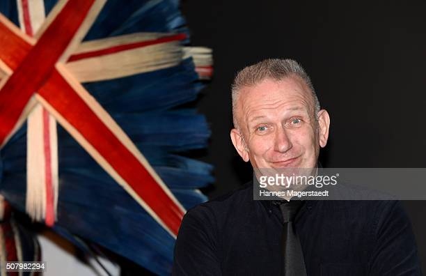 Jean Paul Gaultier attends a photocall as he hands over a check to Munich Aids Foundation at Kunsthalle der HypoKulturstiftung on February 2 2016 in...
