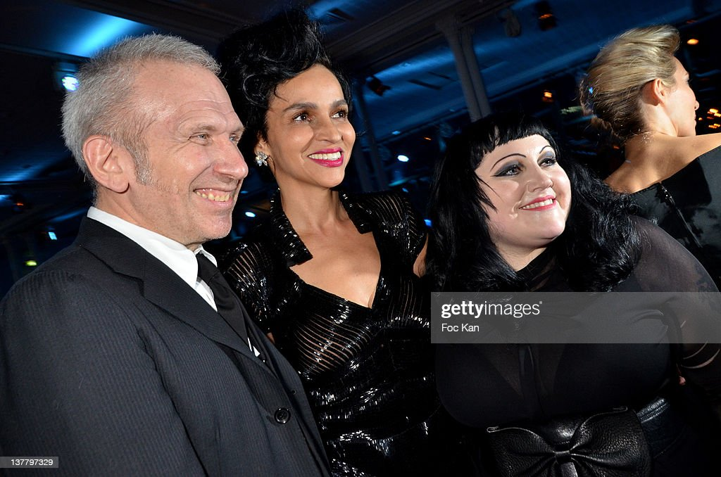 Jean Paul Gaultier, <a gi-track='captionPersonalityLinkClicked' href=/galleries/search?phrase=Farida+Khelfa&family=editorial&specificpeople=4866090 ng-click='$event.stopPropagation()'>Farida Khelfa</a> and Beth Dito attend the Sidaction Gala Dinner 2012 at the Pavillon d'Armenonville on January 26, 2012 in Paris, France.