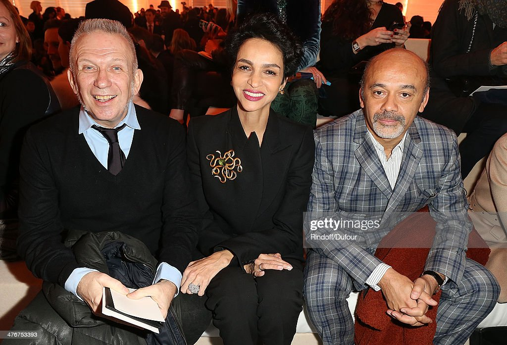 Jean paul Gaultier, <a gi-track='captionPersonalityLinkClicked' href=/galleries/search?phrase=Farida+Khelfa&family=editorial&specificpeople=4866090 ng-click='$event.stopPropagation()'>Farida Khelfa</a> and <a gi-track='captionPersonalityLinkClicked' href=/galleries/search?phrase=Christian+Louboutin+-+Modedesigner&family=editorial&specificpeople=4644509 ng-click='$event.stopPropagation()'>Christian Louboutin</a> attend the Louis Vuitton show as part of the Paris Fashion Week Womenswear Fall/Winter 2014-2015 on March 5, 2014 in Paris, France.