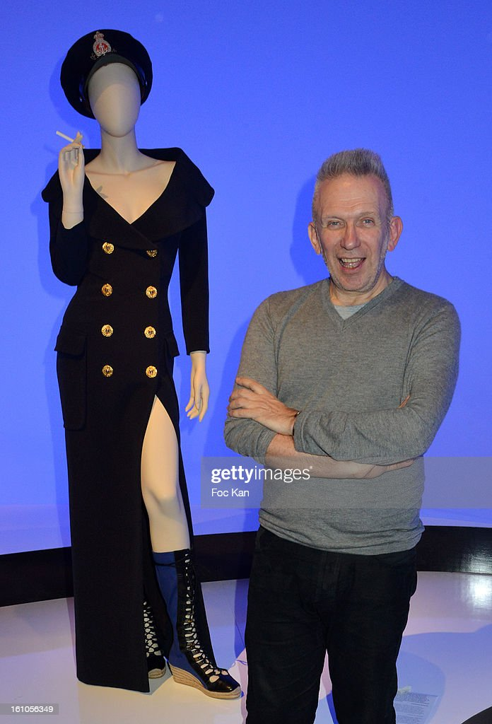 Jean Paul Gaultier Poses with a mannequin during the 'Planete Mode' Exhibition Launch by Jean-Paul Gaultier at Kunsthal Museum on February 8, 2013, in Rotterdam, Netherlands.