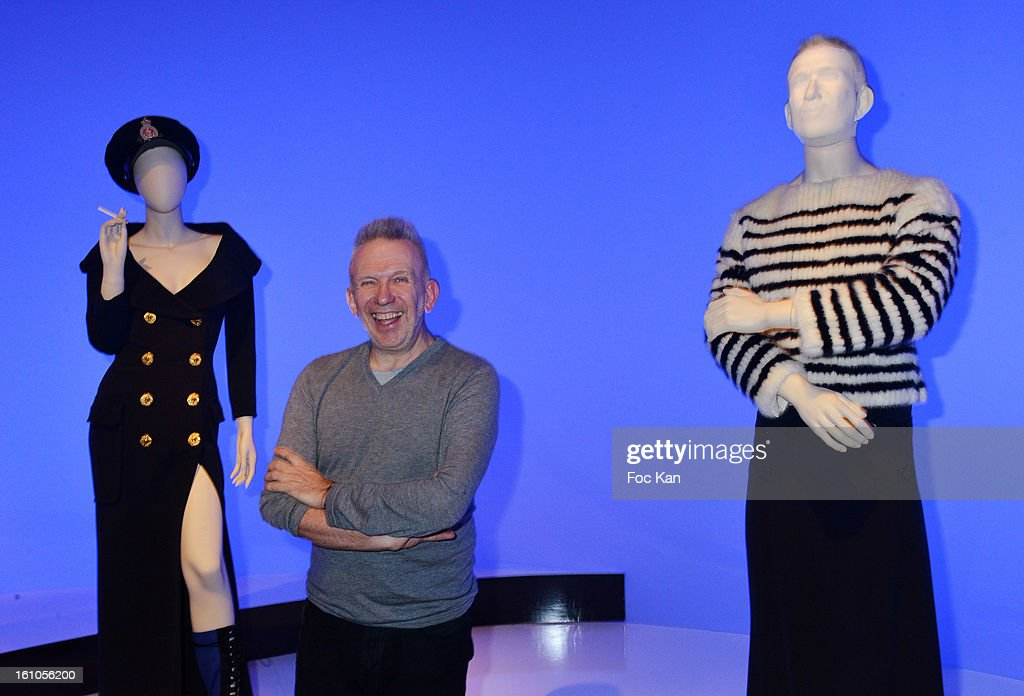 Jean Paul Gaultier poses with his animated, talking mannequin during the 'Planete Mode' Exhibition Launch by Jean-Paul Gaultier at Kunsthal Museum on February 8, 2013, in Rotterdam, Netherlands.