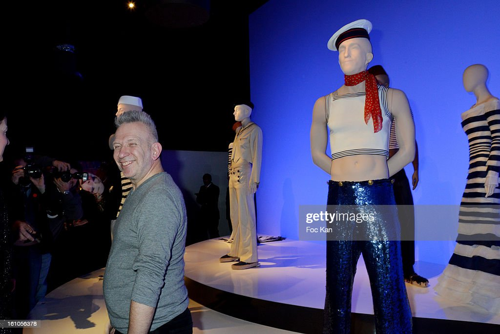 Jean Paul Gaultier Poses with mannequins during the 'Planete Mode' Exhibition Launch by Jean-Paul Gaultier at Kunsthal Museum on February 8, 2013, in Rotterdam, Netherlands.