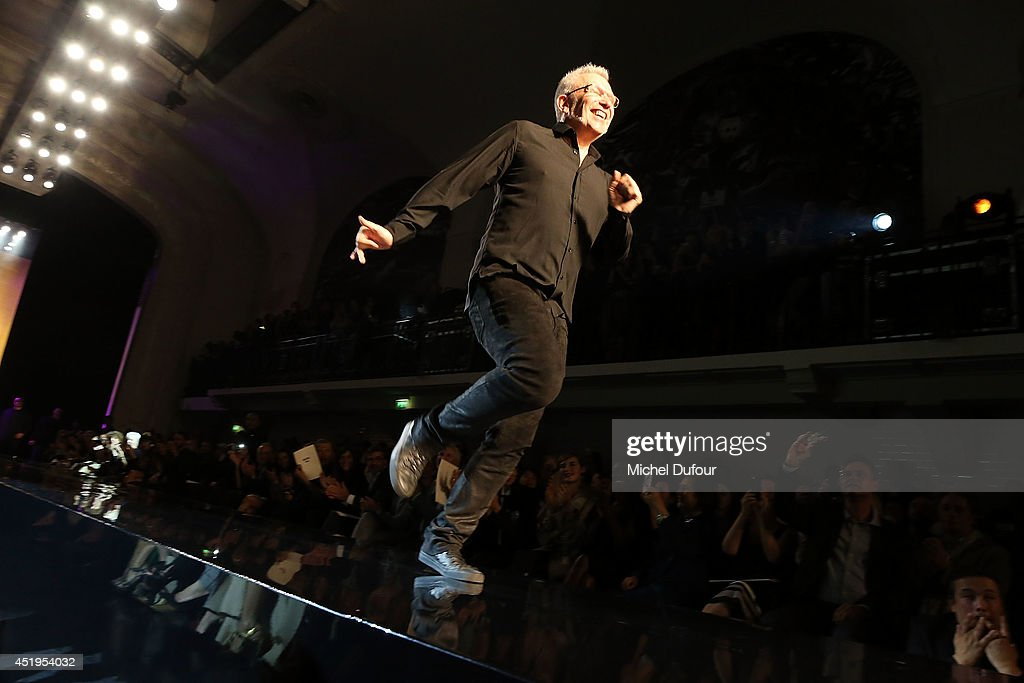 Jean Paul Gaultier walks the runway during the Jean Paul Gaultier show as part of Paris Fashion Week - Haute Couture Fall/Winter 2014-2015 at 325 Rue Saint Martin on July 9, 2014 in Paris, France.