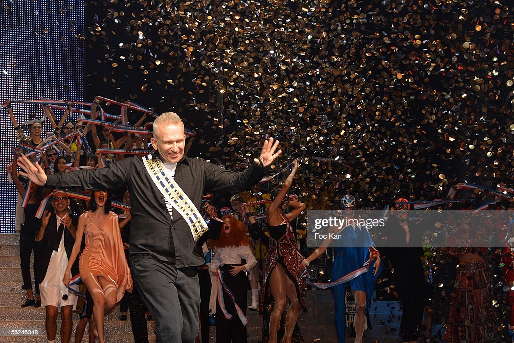 Jean Paul Gaultier walks the runway during The Jean Paul Gaultier show as part of the Paris Fashion Week Womenswear Spring/Summer 2015 at the Grand...