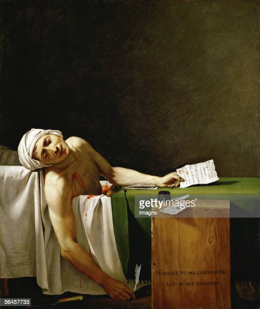 Jean Paul Marat politician and publicist dead in his bathtub assassinated by Charlotte Corday in 1793 Oil on canvas 165 x 128 cm [Jean Paul Marat...