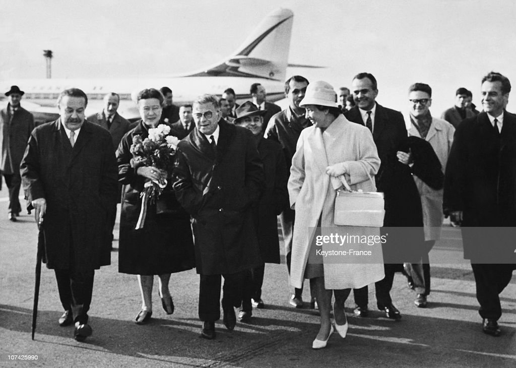 Jean Paul Sartre And Simone De Beauvoir Arriving At The Airport At Prague In Czech Republic On November 13Th