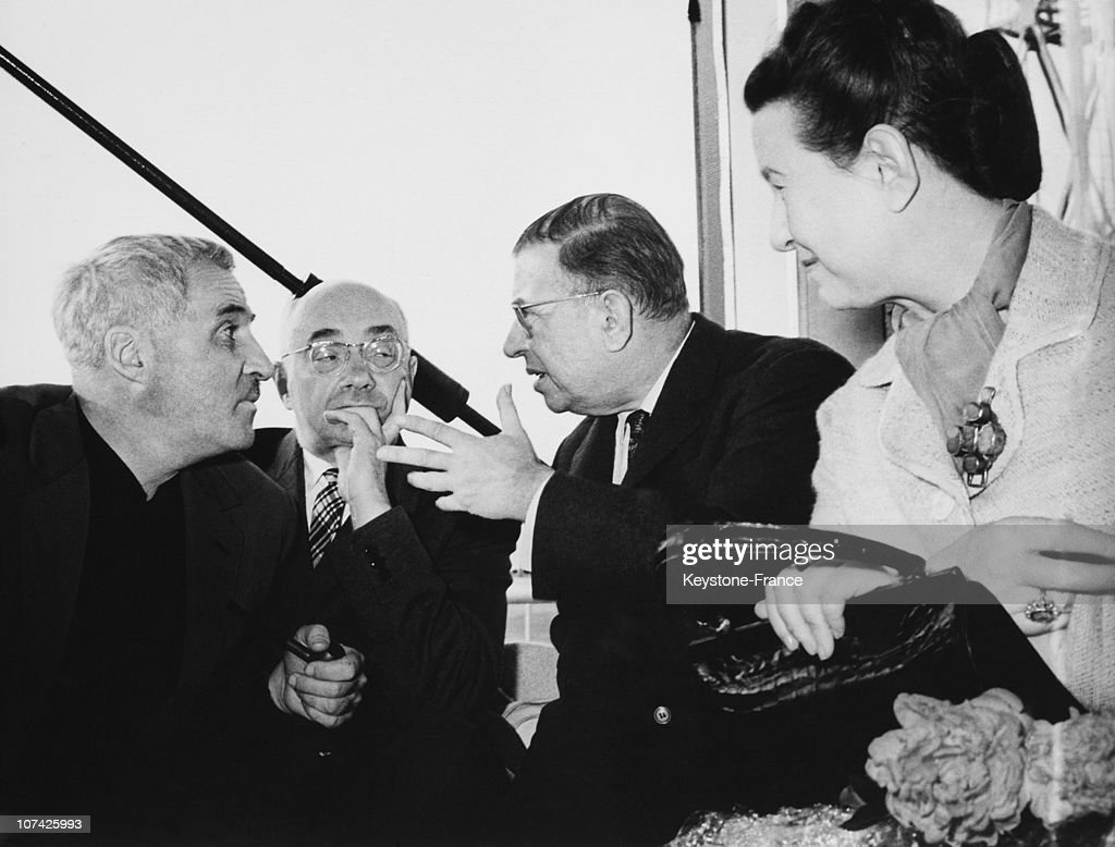 Jean Paul Sartre And Simone De Beauvoir With Konstantin Simonov And Nikolai Bazhan At Moscow In Russia On June 1962