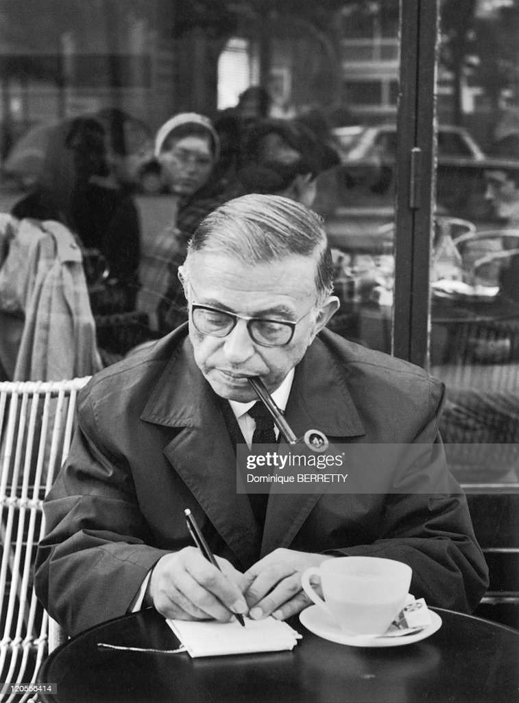 Jean Paul Sartre In Paris, France - At the Dome at Montparnasse.