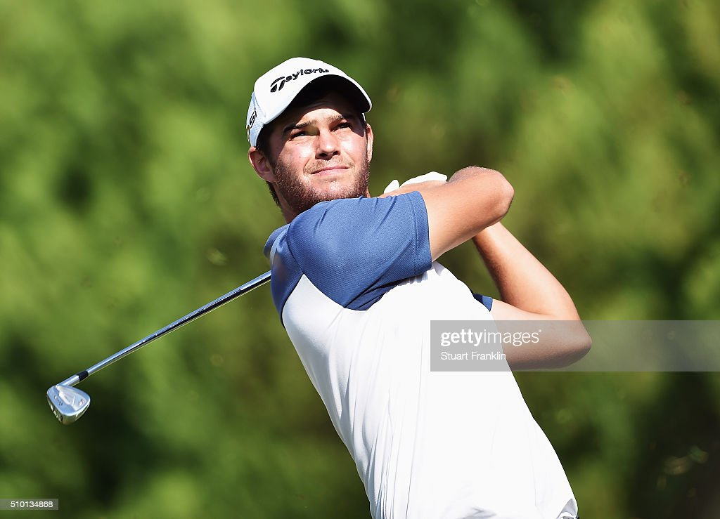 Jean - Paul Strydom of South Africa plays a shot during the final round of the Tshwane Open at Pretoria Country Club on February 14, 2016 in Pretoria, South Africa.