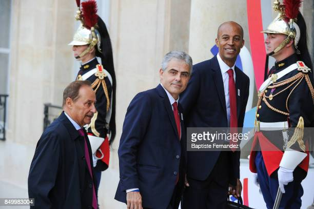 Jean Philippe Gatien and Stephane Diagana during the reception of the CIO by the French President at Elysee Palais on September 15 2017 in Paris...
