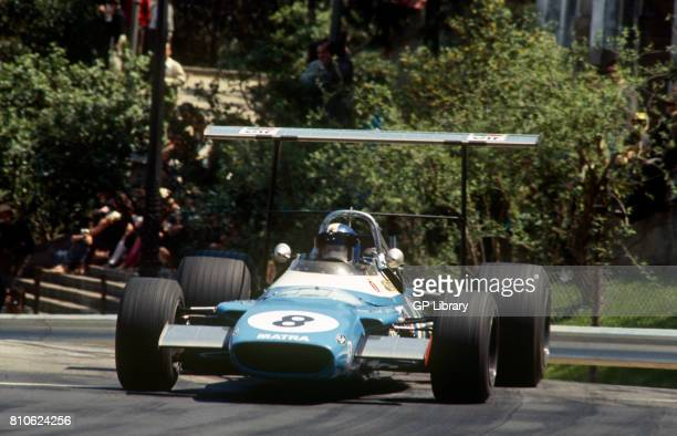 Jean Pierre Beltoise driving a Matra MS80 3rd at Montjuich Park Spanish GP Spain