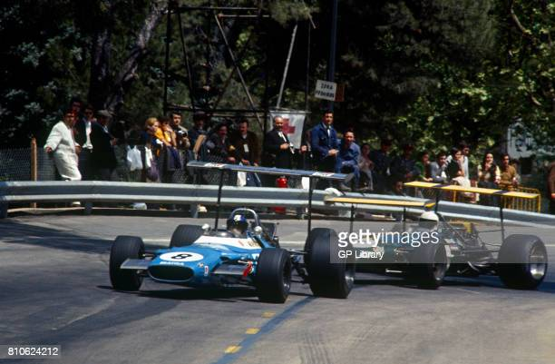 Jean Pierre Beltoise in a Matra MS80 3rd and Jack Brabham in a Brabham BT26A Wings at Montjuich Park Spanish GP Spain