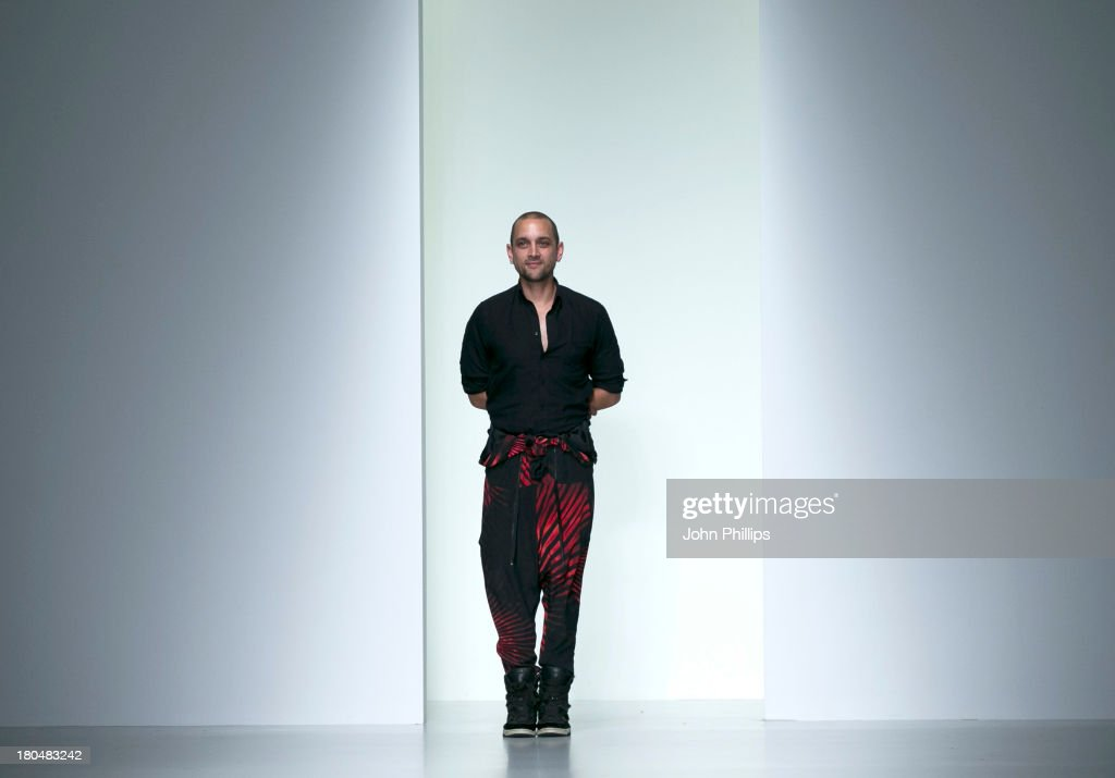 Jean Pierre Braganza on the runway at the Jean-Pierre Braganza show during London Fashion Week SS14 at BFC Courtyard Showspace on September 13, 2013 in London, England.