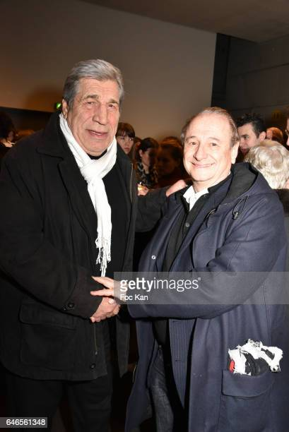 Jean Pierre Castaldi and Patrick Braoude attend the Mobile Film Festival 2017 award ceremony at MK2 Bibliotheque on February 28 2017 in Paris France