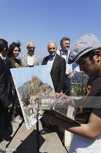 Jean Pierre Elkabbach Oranian origin during the day 'of science and of nature' on April 16 in Oran Algeria In the foreground an artist painting the...