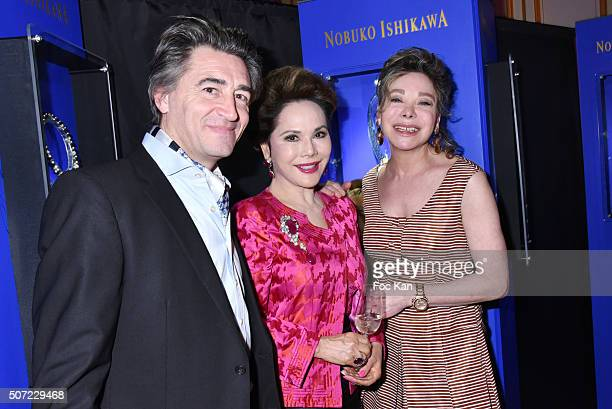 Jean Pierre Jacquin Dewi Sukarno and Grace de Capitani attend the Nobuku Ishikawa Jewellery Exhibition Cocktail at Le Meurice as part of Paris...