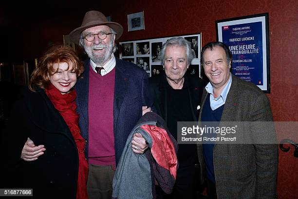 Jean Pierre Marielle and his wife Agathe Natanson with Actors of the Piece Pierre Arditi and Daniel Russo attend the 'L'Etre ou pas' Theater play at...