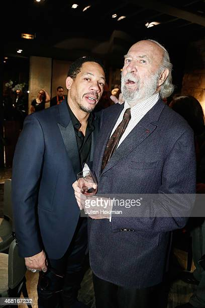 Jean Pierre Marielle and Joey Starr attend 'L'Atelier Maitre Albert' Cocktail In Paris on March 30 2015 in Paris France