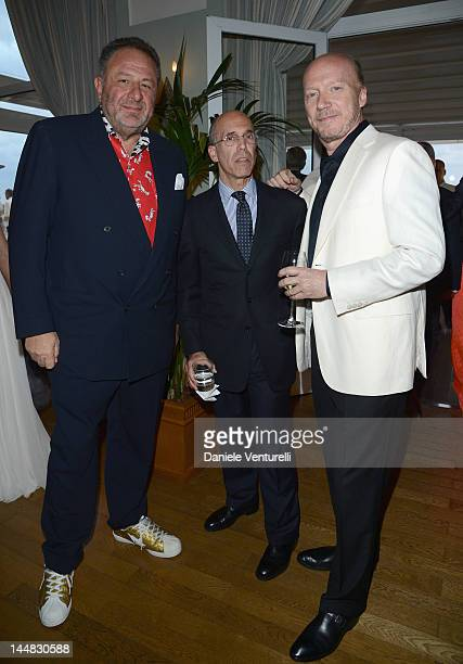 Jean Pigozzi CEO of DreamWorks Animation Jeffrey Katzenberg and Paul Haggis attend the Vanity Fair and Gucci Party at Hotel Du Cap during 65th Annual...