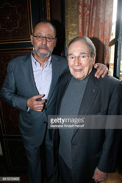 Jean Reno and Robert Hossein attend Levon Sayan receives Insignia of 'Commandeur de l'Ordre National du Merite' at Hotel d'Evreux on June 14 2016 in...